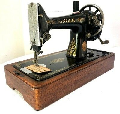 Singer 99k Vintage Hand Crank Sewing Machine ~ Good Working Order Antique