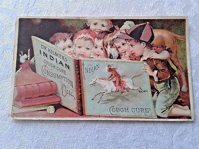 Vintage Dr Kilmers Indian Cough Consuption Cure Victorian Trade Card