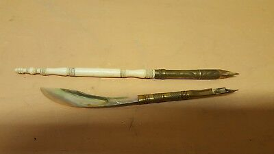 Vintage Antique Mother Of Pearl Letter Opener Dip Fountain Pen And Other