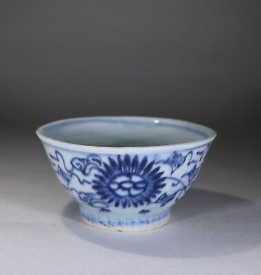 Antique Chinese Porcelain Blue & White Tea Bowl 1600s Ming