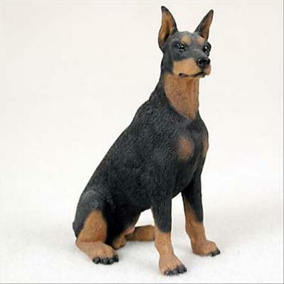Doberman Pinscher Black Cropped Dog Hand Painted Collectable Figurine Statue