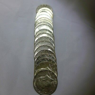 Roll of 20 /1964 Kennedy Half-Dollars - 90% Silver Coins - Average Circulated