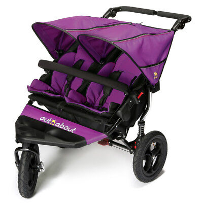 Out n About Nipper Double 360 V4 Pushchair Purple Punch With 5 Safety Harness