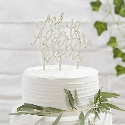 Ginger Ray Wooden And So The Adventure Begins Wedding Cake Topper Display