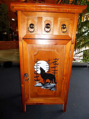 cabinet  handpainted wolf  curio cabinet  CD   bath bar made of wood