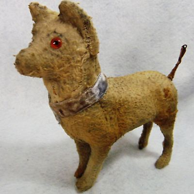 Dog Miniature Antique Flocked Wood Leather Alert 7-1/2 Inch Old Retro Home Piece