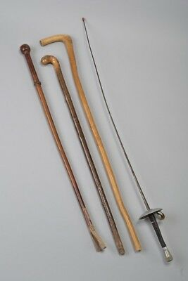 Hogspear's Instant Stick Stand Group. Old Fencing Foil & Walking Canes. DYK