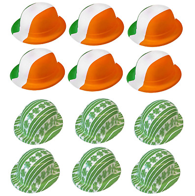 12 x ST PATRICKS DAY BOWLER HATS FANCY DRESS 6 x FLAG COLOUR  6 x SHAMROCK QRMIX