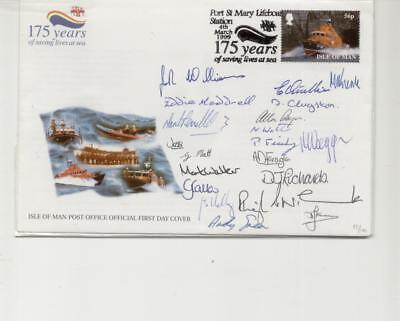 Isle of Man 1999 Port St Mary Lifeboat cover signed by 18 people