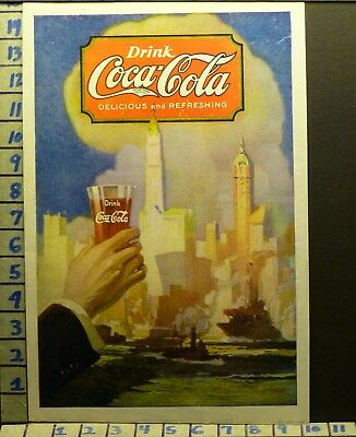 1920 Coca Cola Coke New York Harbor City Boat Ship Soda Vintage   V84