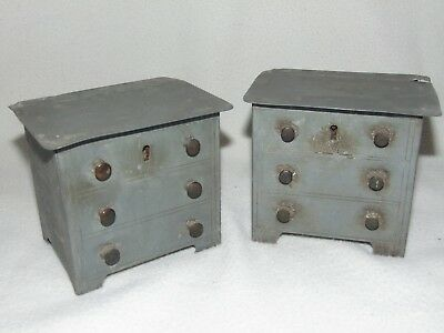 RARE PAIR OF ANTIQUE 1800's PEWTER TYPE METAL CHEST OF DRAWER DESIGN TEA CADDY