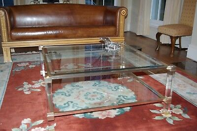Vintage PIERRE VANDEL Mid Century Gold Lucite & Glass LARGE Square COFFEE TABLE
