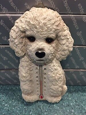 NIB Spoontiques BICHON FRISE Dog Thermometer Wall Figurine Decoration