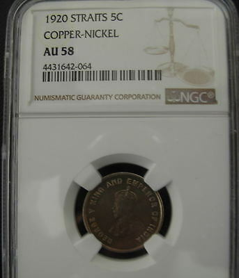 Straits Settlements 1920 Copper - Nickel 5 Cents NGC AU-58 Better Date