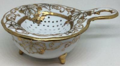 Antique 1930's porcelain Tea Strainer Set Drip 3 footed Cup gold moriage nippon