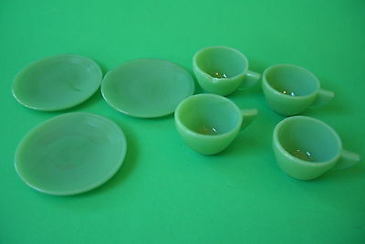 Akro Agate Cups And Saucers Glass Tea Set Jadite Green 7 Pieces