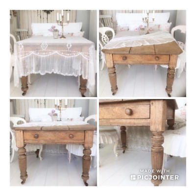 ~*Heavy Oak Vintage Dining Table with Drawer & Castors*~
