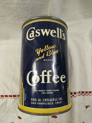 Vintage Caswell's Brand Yellow And Blue Coffee Tin Can, 3 Pound Size