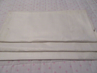 "2 Antique vintage white linen damask tablecloths/bedspreads rose motifs  88""x68"""