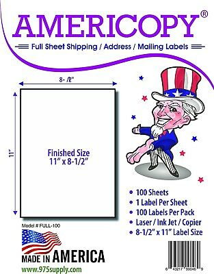 "Americopy Made in USA Labels for Inkjet/Laser Full Sheet 8.5 x 11"" 100/pack"