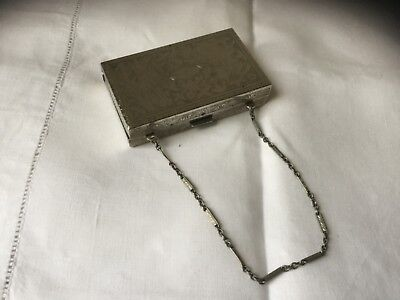 VINTAGE POWDER COMPACT PURSE, CHAIN HANDLE with POWDER & ROUGE - UNUSUAL