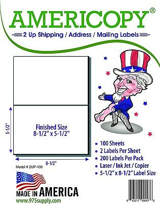 "Americopy Made in USA Labels for Inkjet/Laser Half Sheet 8.5 x 5.5"" 200/Pack"