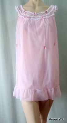 VINTAGE SILKY SHEER DOUBLE LAYER PINK NYLON BABY-DOLL NIGHTIE - Med