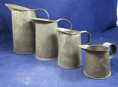Lot of 4 Vintage Graduated Tin Measuring Pitchers - Age Unknown
