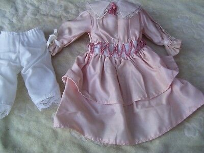 Alte Puppenkleidung Pink Fine Dress Outfit vintage Doll clothes 45 cm Girl