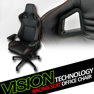 Black With Red Stitches PVC Leather MU Racing Bucket Seat Game Office Chair VL10