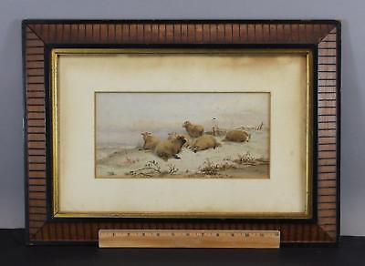 Antique 19thC Bucolic Country Farm Sheep Winter Landscape Watercolor Painting