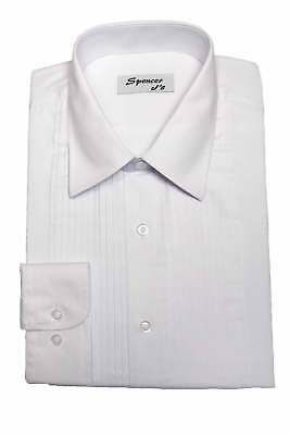 White Tuxedo Shirt Laydown Collar 60 Cotton 40 Polyester US Seller Tux Formal