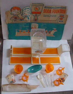 VINTAGE RARE HOWARD JOHNSONS SODA FOUNTAIN Ideal Toy Corp ORIGINAL WORKS + CUPS