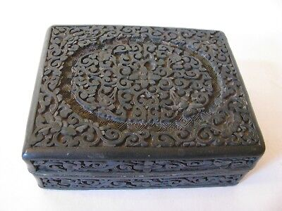 Antique Chinese Cinnaber Carved Flower Swirls Green Lacquer Box