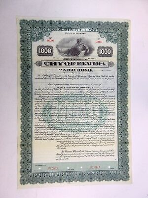 NY. City of Elmira, 1915 $1,000 Specimen 4 1/2% Water Bond, VF-XF FLBNC