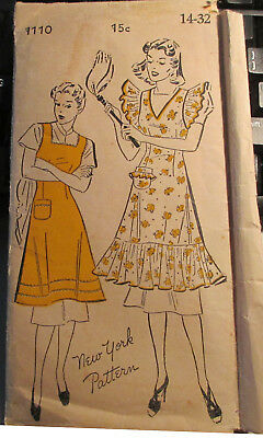 Vintage New York Sewing Pattern 1110 Misses' Apron Size 14 Bust 32 Hip 35 1940s