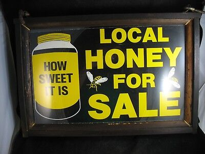 Antique Wood framed under glass double sided Local Honey for sale sign Excellent