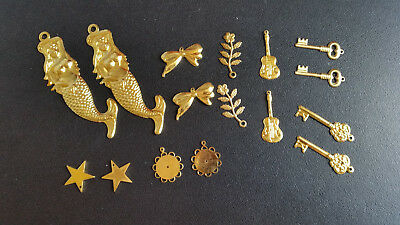 Great pack of 16 Brass Charms good for Craft and Scrapbooking ***FREE POSTAGE***