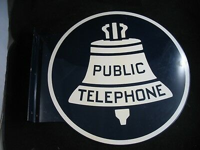 Vintage Flanged Double sided Blue Porcelain Public Telephone sign. Excellent