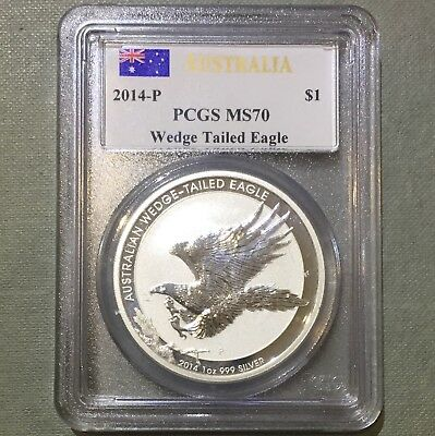 2014 P Australian Wedge-Tailed Eagle 1oz 999 Silver PCGS MS70 528180.70/30559998