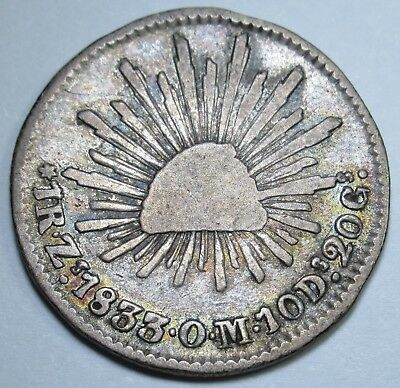 Mexico 1833 1 Reales Zacatecas Antique Mexican Currency Coin Piece Of Eight Real