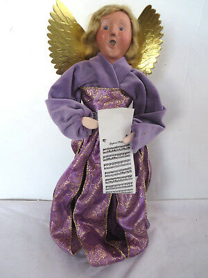 2010 Byer's Choice Doll Figure The Carolers Purple Angel Singing Girl