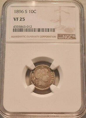 1896 S 10C NGC VF 25 Barber Liberty Head Dime, Scarce Date, Problem Free Silver