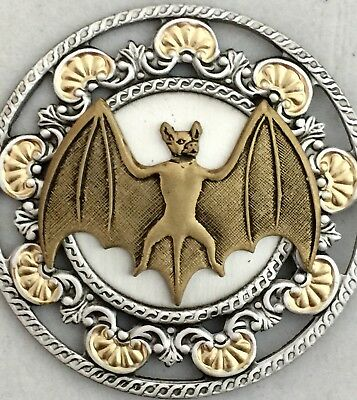 "STERLING SILVER Overlay On Brass~BAT WITH SPREAD WINGS Vintage Button~1 3/4""INCH"
