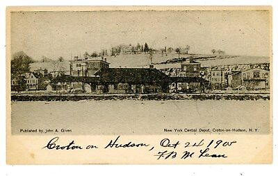 Croton on Hudson River NY -NEW YORK CENTRAL RAILROAD STATION IN WINTER- Postcard