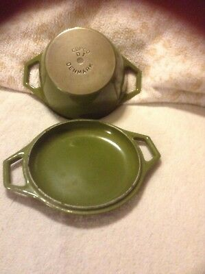 Cast Iron Enamelware Avacodo Green Denmark D-1 Covered Copco Dish Vintage Cass