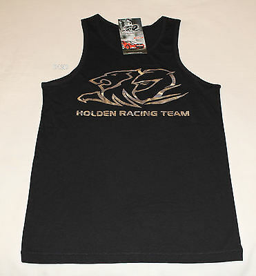 Holden Racing Team HRT Boys Black Printed Sleeveless Singlet Top Size 14 New