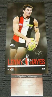 Lenny Hayes St Kilda Saints Hand Signed Official Afl Players Vertiramic Print