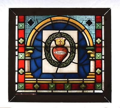 *French Antique Gothic Stained Leaded Glass Hand Painted Panel w/Sacred Heart