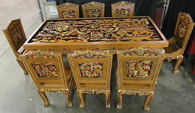 Vintage Chinese Dragon & Phoenix Table w/ 8 Chairs, Hand Carved  & Painted (230)